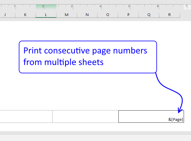 Print consecutive page numbers across multiple worksheets