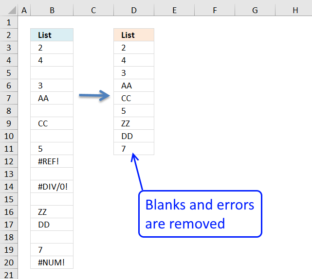 removing blanks in excel