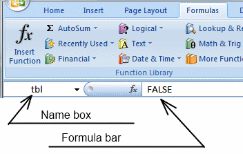 Picture of the Excel name box and formula bar