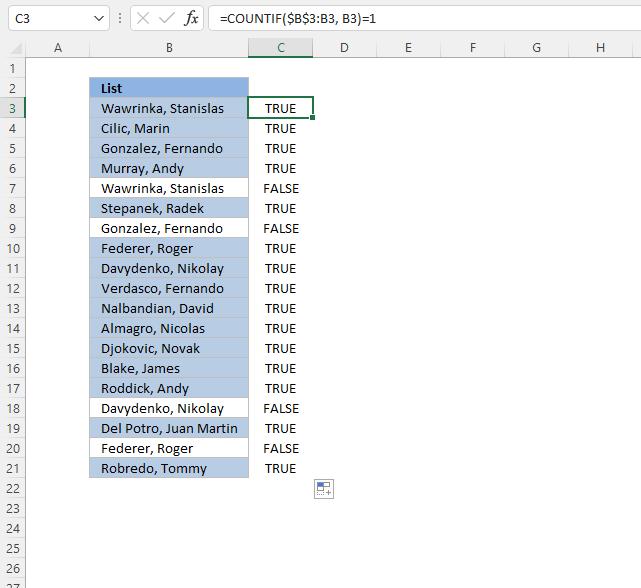 Highlight a unique distinct list Conditional formatting