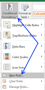 Picture of conditional formatting button on the ribbon