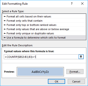 Picture of Conditional formatting dialog box