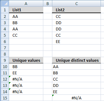 Create unique list from two columns1