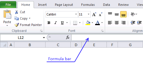 Picture showing formula bar