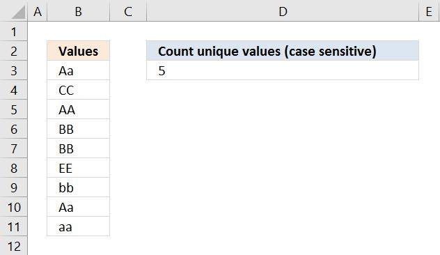 Count unique distinct values