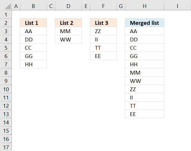 Merge three columns into one list