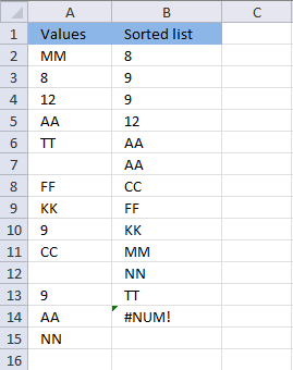 Sorting numbers and text cells also removing blanks using array formula in excel
