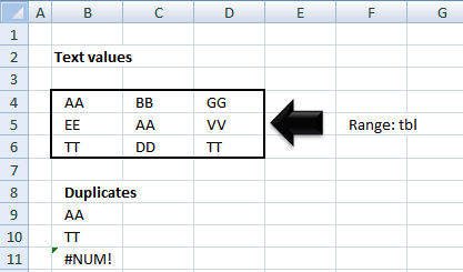 Extract duplicates from a range