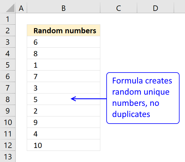 How to create a list of random unique numbers