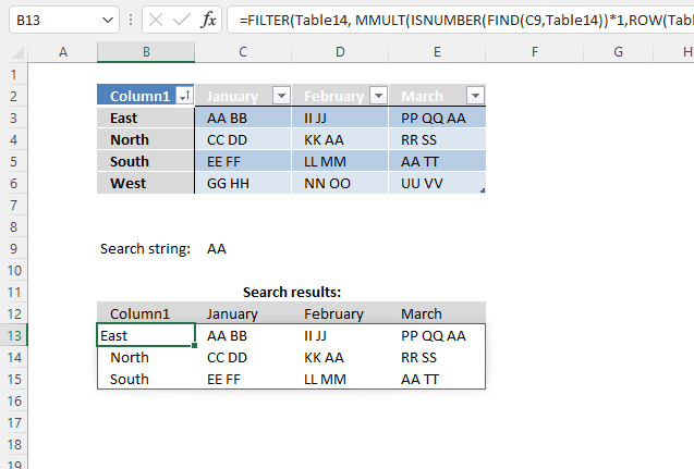 Search for a text string in a data set and return multiple records Excel 365