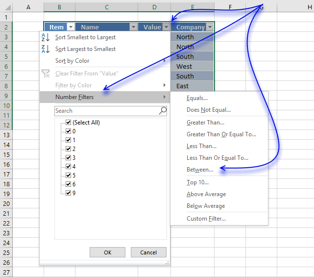 Extract all rows from a range that meet criteria in one column