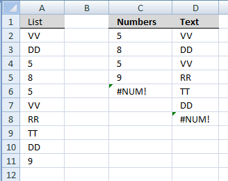 List all numbers in a column