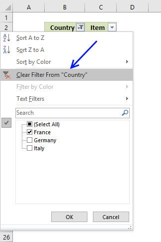 icture of how to clear filter using AutoFilter