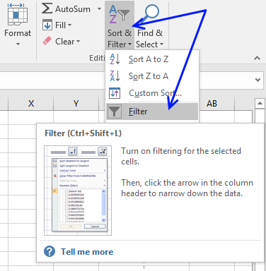 Picture of how to remove AutoFilter buttons
