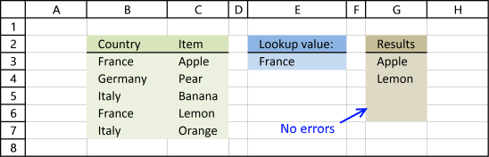 Picture of how to extract multiple values based on a condition using an array formula and errors are hidden
