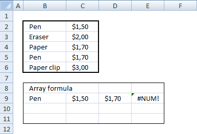 Picture of how to extract multiple values horizontally based on a condition using an array formula