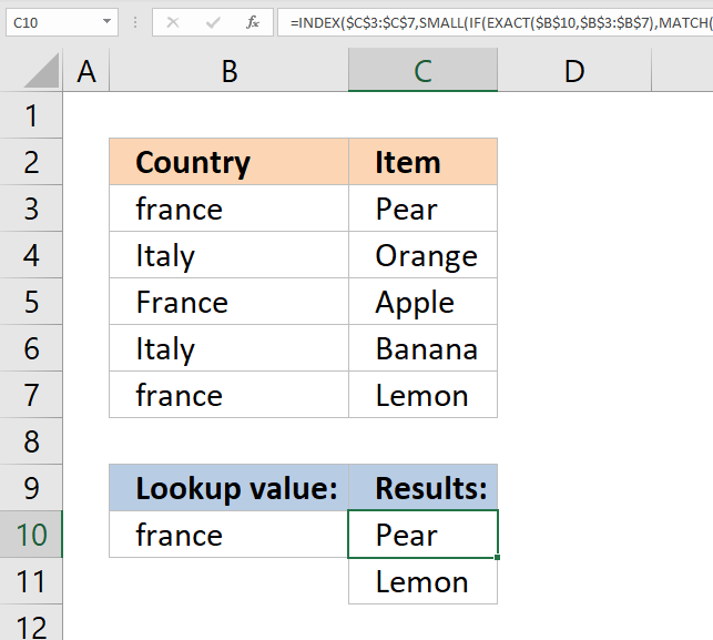 vlookup return multiple values case sensitive