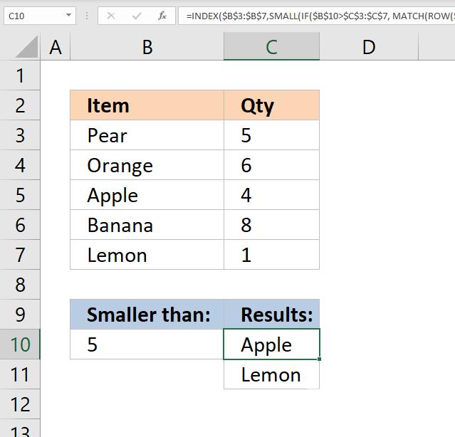 vlookup return multiple values smaller than