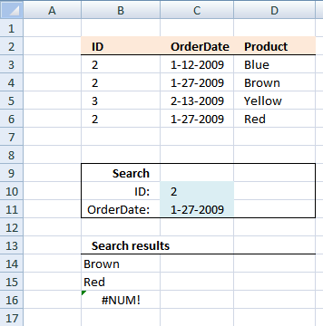 Looking up two index columns returning multiple matches