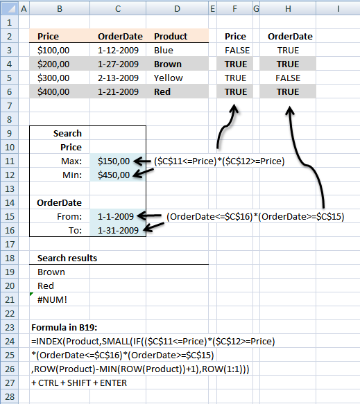 Lookup two index columns using min max value and a date range