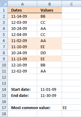 Most common value between two dates in excel