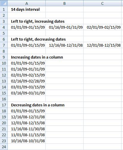 bi-weekly date range