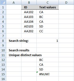 Filter unique distinct values