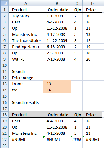 Find records between two numbers