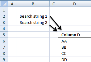 Search for multiple text strings in multiple cells
