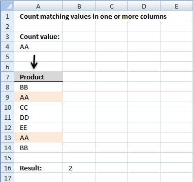 count matching values