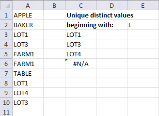 extract unique distinct values beginning with