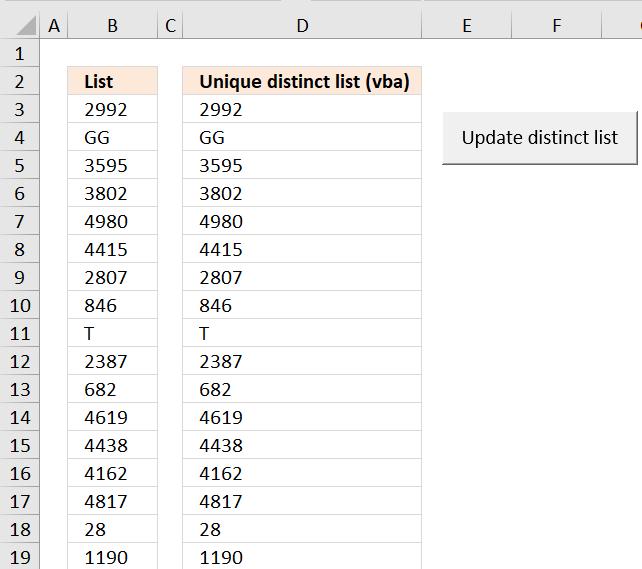 Create a unique distinct list using Advanced Filter in a macro [VBA]
