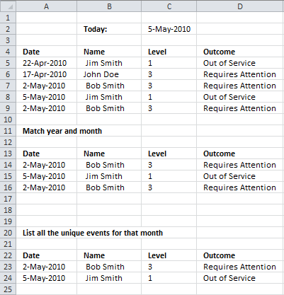 excel events