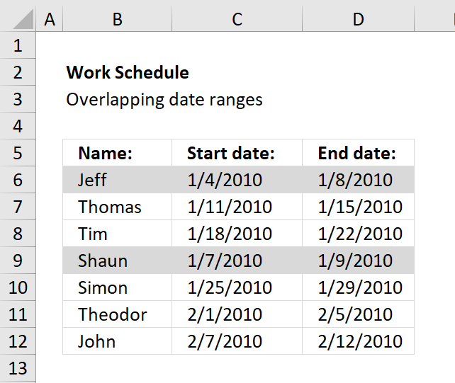 Highlight overlapping date ranges using conditional formatting