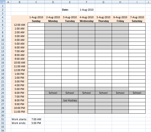Schedule recurring events in a weekly schedule in excel – Event Timetable Template
