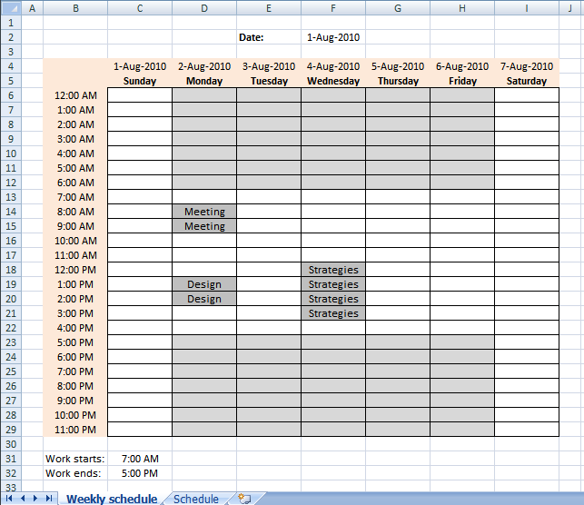 Setting Up Your Work Hours In A Weekly Schedule In Excel