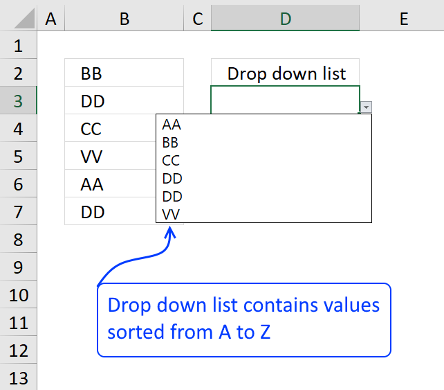 Create a drop down list containing alphabetically sorted values