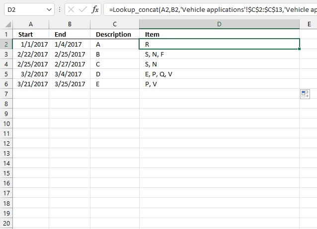 Lookup and return multiple dates concatenated into one cell based on a cell range UDF1