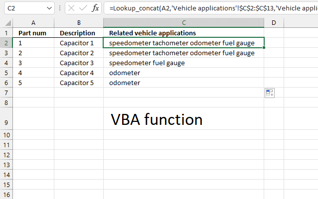 Lookup and return multiple values concatenated into one cell UDF