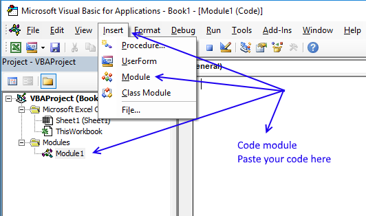 Picture of where to put the vba code in the VB Editor