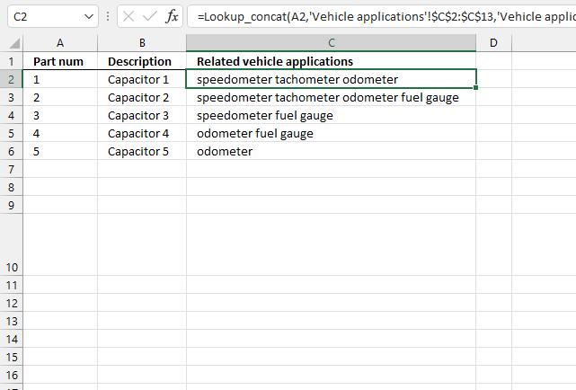 lookup and return multiple concatenated unique distinct values wildcard