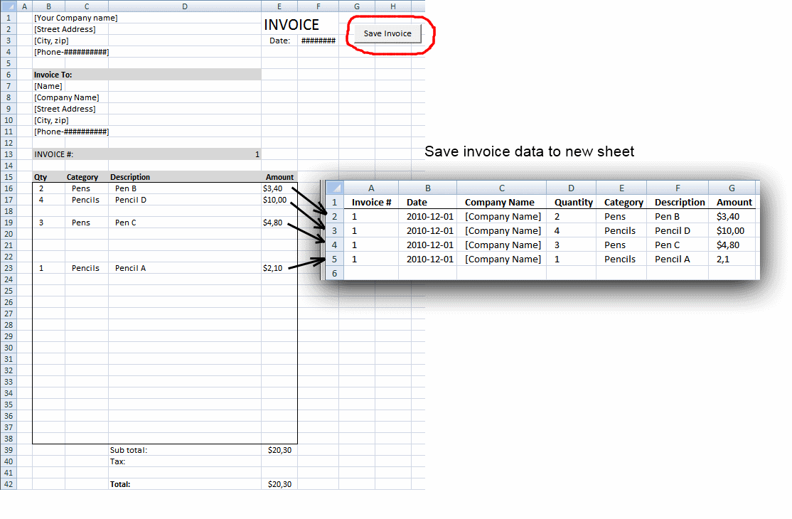 Workbooks macro to combine worksheets : Save invoice data [VBA]