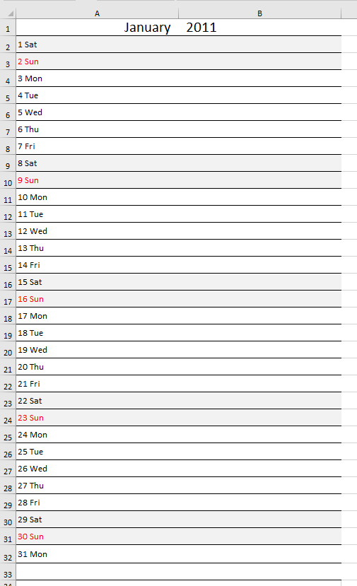 Monthly Calendar Template 2