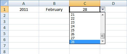 how to create a drop down calendar in excel