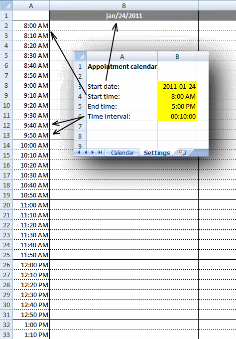 Weekly appointment calendar in excel