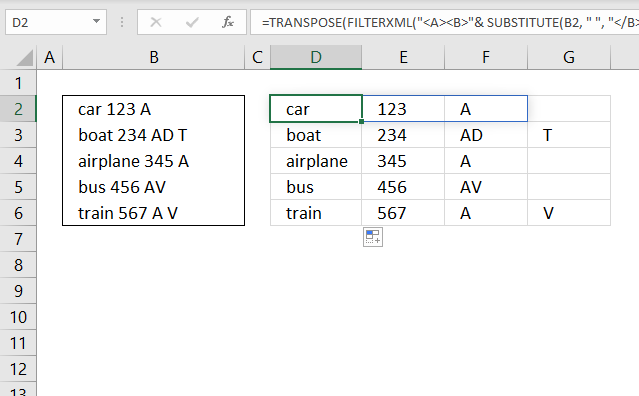 Text to columns FILTERXML Blank as a delimiting character