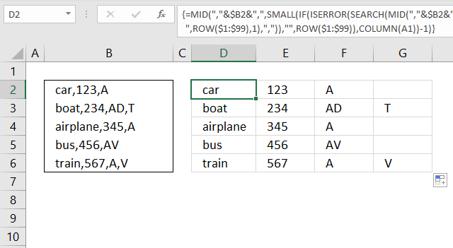 Text to columns Split words in a cell delimiting character