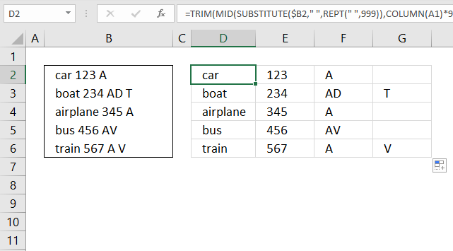 Text to columns Split words in a cell
