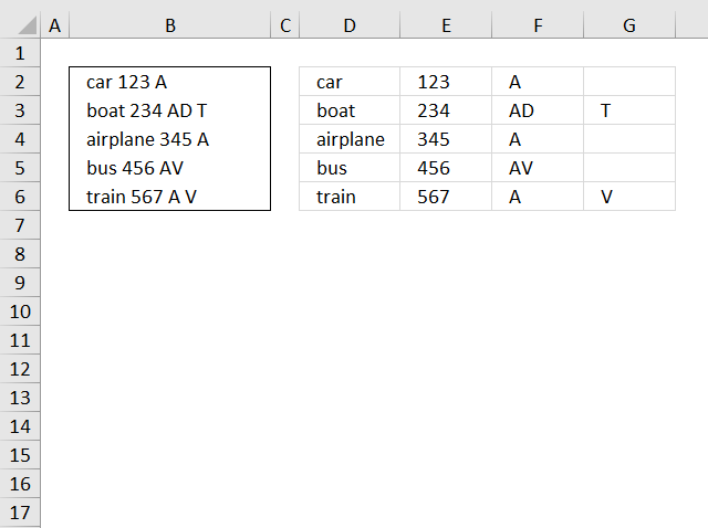 Text to columns: Split words in a cell [Array formula]