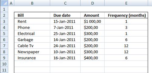 Bill Reminder In Excel